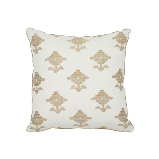 """So7416003 Rubia Embroidery 16"""" Pillow Ivory By Schumacher Furniture and Accessories 1"""