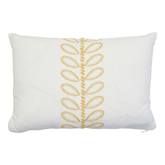So7874011 Camile Embroidery Pillow Yellow By Schumacher Furniture and Accessories 1