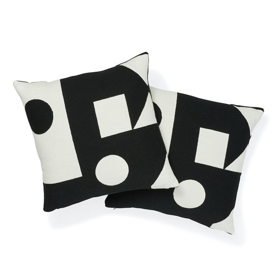 """So7569005 Binary Embroidery 20"""" Pillow Black By Schumacher Furniture and Accessories 3"""