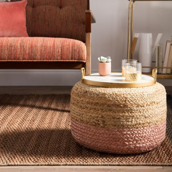 Oliana Ombre BeigeLight Pink Cylinder Pouf 3