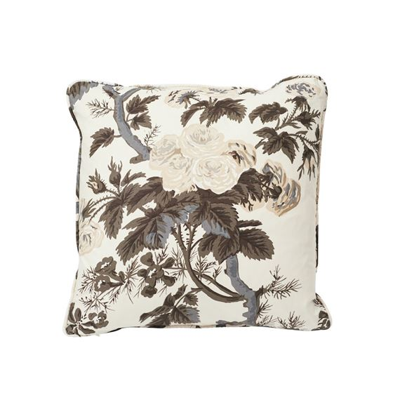 """So17445004 Pyne Hollyhock 18"""" Pillow Charcoal By Schumacher Furniture and Accessories 1"""