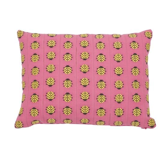 So7739110 Ladybird Pillow Yellow and Pink By Schumacher Furniture and Accessories 1