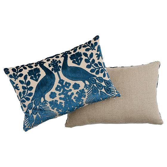 So7297315 Pavone Velvet Pillow Peacock By Schumacher Furniture and Accessories 3