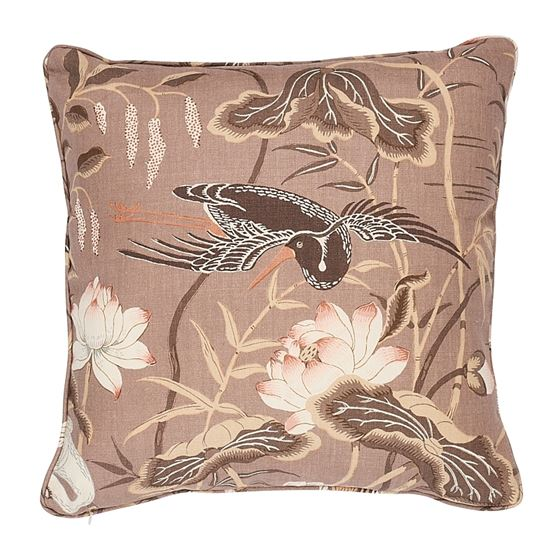 """So17293406 Lotus Garden 22"""" Pillow Mocha By Schumacher Furniture and Accessories 1"""