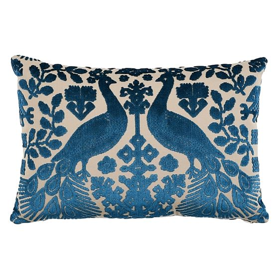 So7297315 Pavone Velvet Pillow Peacock By Schumacher Furniture and Accessories 1